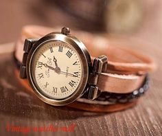New retro winding small leather bracelet by Vintagewatchesmall, $12.59