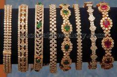 Jewellery Designs: Diamond Bangles Gallery by Kotharis Plain Gold Bangles, Gold Bangles Design, Gold Earrings Designs, Gold Jewellery Design, Gold Jewelry, Ruby Bangles, Henna, Jewelry Design Drawing, Pandora
