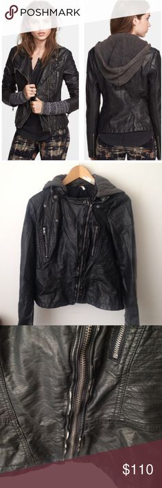 Free People Faux Leather Hooded Jacket Super chic faux leather jacket from Free People with removable hood. Material is naturally crinkled for worn look; some discoloration on the leather - see pics. Color is a very dark brown, almost black. Offers welcomed, no trades! Free People Jackets & Coats