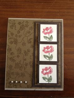 handmade card by Vielen Dank - thank you card ... browns in the base  ... layers and tone on tone stamping ... three sweet inchies with flowers on a rasied panel ... luv the look!!
