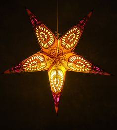 """24"""" China Cat Yellow Sunflower Star Lanterns $6.79 each  They have an assortment of colors. I like this one."""