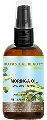 MORINGA OIL  100 Pure  Natural  Undiluted Cold Pressed Carrier Oil 2 Floz 60 ml For Skin Hair Lip and Nail Care Moringa Oil is a nutrient dense high in palmitoleic oleic and linoleic acids moisturizing fatty acids and vitamins A C and E ** You can find more details by visiting the image link.