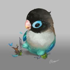 parrot by bluezjj on DeviantArt Cute Animal Drawings, Animal Sketches, Bird Drawings, Cute Drawings, Funny Birds, Cute Birds, Love Birds Painting, Cute Kawaii Animals, Mythical Creatures Art