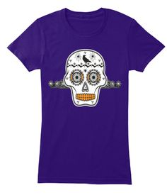 Halloween Sugar Skull Crow Spiders Tees Purple T-Shirt Front