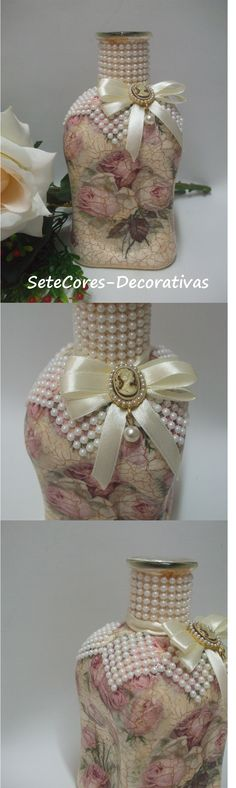 Like the pearl collar. Wine Bottle Art, Diy Bottle, Wine Bottle Crafts, Mason Jar Crafts, Recycled Decor, Recycled Wine Corks, Altered Bottles Tutorial, Alter Decor, Crackle Painting