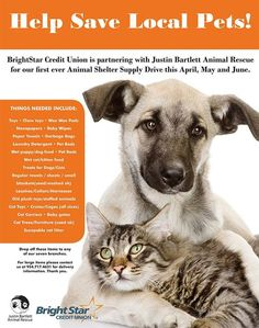 It's just that simple: BrightStar Credit Union is hosting a much-needed pet supply drive for Justin Bartlett Animal Rescue, a Broward County all #volunteer/#foster-based animal rescue group. If you're passing through #Broward County, all seven branches of #BrightStar Credit Union are accepting the donation items listed on this poster.