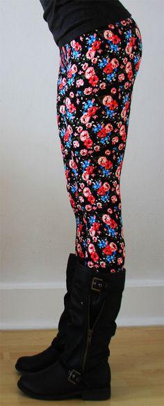 Women leggings Flower Leggings Colorful Leggings by JillNicoleCo, $16.00