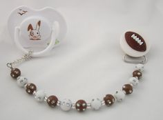 Football Pacifier clip with Matchin Beads CMF by mycrystaldream