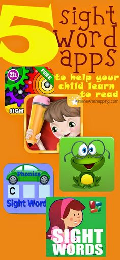 5 Sight Word #Apps to help your kids learn to #read. #kindergarten #preschool #elementary
