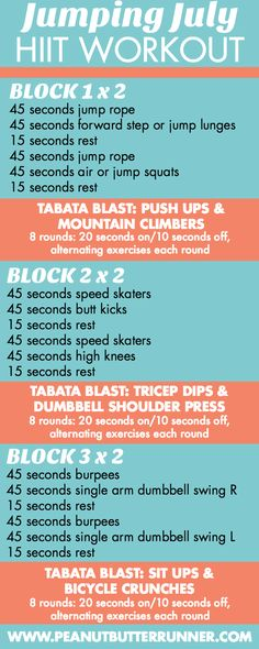 A 35-minute HIIT workout featuring blocks of 45 second intervals followed by tabata blasts. Get ready to jump, sweat and feel the burn!