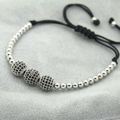 8mm Pave Setting Beads & Braiding Macrame Bracelet For Women/Men