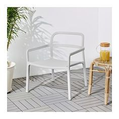 IKEA - YPPERLIG, Armchair, in/outdoor, No assembly or screws to re-tighten since the chair is molded in one piece.The armchair is lightweight and easy to move if you want to clean the floor or rearrange the furniture.Chairs can be stacked to take up less room when not being used.The plastic is both UV stabilized and fade resistant, which means the armchair lasts longer.Suitable for outdoor use as well.Durable; meets the requirements on furniture for public use.