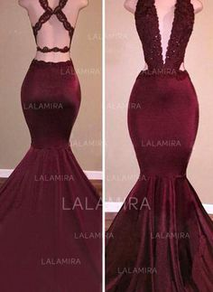 Stunning Satin Evening Dresses Trumpet/Mermaid Sweep Train V-neck Sleeveless - lalamira Mermaid Prom Dresses Lace, Prom Girl Dresses, Ball Dresses, Homecoming Dresses, Formal Dresses, Formal Wear, Party Dresses, Wedding Dresses, Burgundy Evening Dress