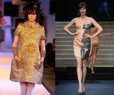 """At the Christian Lacroix Spring/Summer 2007 haute couture presentation in 2006, and walking the Jean-Paul Gaultier Spring/Summer 2014 show in 2013. We should have known Rocha was destined for greatness when, at 17 years old, she graced the catwalk for the first time by opening Christian Lacroix's haute couture show. Now famous for a classic and dramatic approach to walking and posing, Rocha added """"Mom"""" to her resume this year when she gave birth to a little girl, Ioni, in March."""
