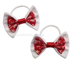 Red and white floral fabric hair bows on thick bobbles - www.dreambows.co.uk floral bows, floral hair accessories, hairbows, hair styles, girls hair, fashion for girls, hair
