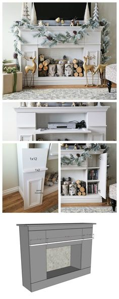 DIY Faux fireplace mantle with hidden storage! The front is all doos - behind is all storage! Detailed plans from ana-white.com Project Type: Media and Entertainment CentersRoom: living roommain_categ