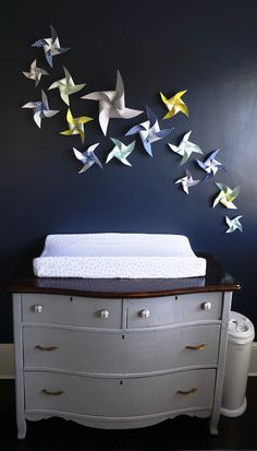 Pinwheel wall and changing table