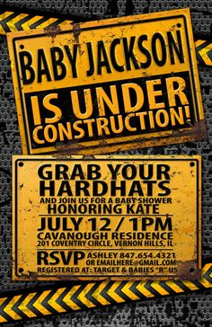 Under Construction Baby Shower invitation by LyonsPrints on Etsy