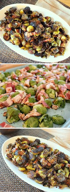 Roasted Brussels Sprouts with Bacon! So easy!
