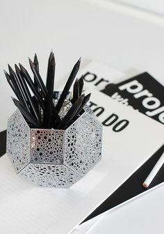 Tom Dixon's Etch as a pencil holder via Nordicleaves.com