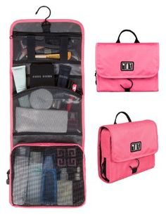 Bags-mart Portable Folding Travel Toiletry Hanging Wash Bag with Hook Ladies Make Up Cosmetic Bags Organiser Pink