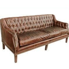 Choosing A Leather Sofa. Enhance your home decor with a new couch. Considering the variety of designs to pick from selecting the best sofa can be tough. It usually is a good idea to take a look at a few choices before buying a sofa. Tufted Leather Sofa, Best Leather Sofa, Leather Chesterfield, Primitive Dining Rooms, Sofa Company, Modern Farmhouse Interiors, Vintage Interiors, Chairs For Small Spaces, Work Spaces