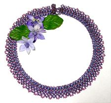 Double Daisy Seed Bead Collar Pattern - A project from Bead-Patterns the Magazine Issue 10 (Mar/Apr 2007) Spring Issue