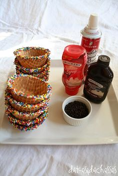 Sundae Bar. Dip waffle bowls in white chocolate, add sprinkles, and allow to harden. Fun birthday party idea @ Home Improvement Ideas