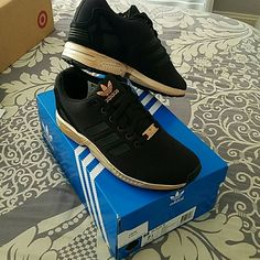 Adidas ZX Flux W Brand new. Black and copper, size 7.5 women's , YES THESE ARE STILL AVAILABLE Adidas Shoes Sneakers