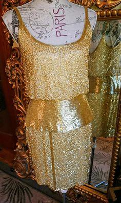 9f1d9d1322e Show Stopping Vintage 80 s Oleg Cassini Black Tie Gold Vintage Cocktails