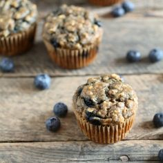 Whole Wheat Blueberry Banana Muffins. These are sweetened with honey, dairy-free, and delicious!