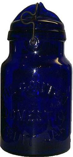 Canton Domestic Fruit Jar in Rare Cobalt Blue Antique Glass Bottles, Bottles And Jars, Glass Jars, Vintage Mason Jars, Vintage Bottles, Azul Anil, Vases, Bleu Cobalt, Cobalt Glass