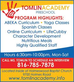 Tomlin Academy offers a huge variety of classes for your child!!  // For more family resources visit www.ifamilykc.com! :)