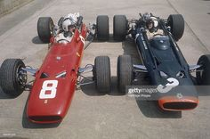 Chris Amon and Jackie Stewart at the British Grand Prix, Silverstone, Northamptonshire, 1967. Amon took third place in his Ferrari, while a transmission problem forced Stewart's BRM out after 20 laps. Scottish motor racing driver Jackie Stewart began his Formula 1 career in 1965, winning the Italian Grand Prix in his debut season. In a career lasting until 1973, he won a then record 27 Grands Prix, as well as three World Drivers' Championships, in 1969, 1971 and 1973. After suffering a…