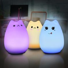 Elfeland Multi-color Cat Lamp with Remote- Children Cute Kitty Cartoon Animal LED Portable Silicone Night Light - 12 Single Colors & Breathing Modes - USB Rechargeable- Timing Function Bedroom Night Light, Led Night Light, Light Led, Night Lights, Cat Lamp, Light Crafts, Cool Floor Lamps, Baby Kind, Kid Beds