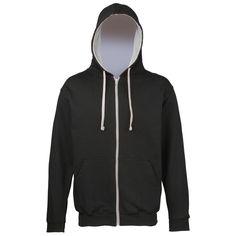 Awdis Mens Varsity Hooded Sweatshirt / Hoodie / Zoodie (L) (Jet Black/Heather Grey): Amazon.ca: Clothing & Accessories