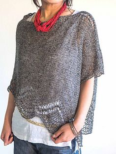 Ravelry: Chic pattern by Yumiko Alexander Knitted Poncho, Crochet Shawl, Knit Crochet, Summer Knitting, Sweater And Shorts, Knitting Designs, Pullover, Chic, Ravelry
