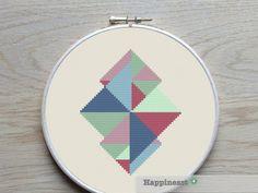 modern geometric cross stitch pattern PDF pattern par Happinesst