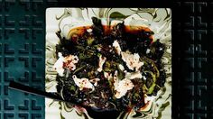 """Braised Greens with Aleppo Pepper & Feta: Also known as the """"cooked to hell"""" method, this braise renders the greens meltingly tender. If you can't find Aleppo, use tsp. crushed red pepper flakes instead. Braised Greens, Broccoli Rabe Recipe, Broccoli Recipes, Vegetable Recipes, Vegetarian Recipes, Veggie Meals, Healthy Meals, Chicken Recipes, Recipes"""