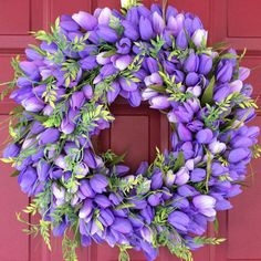 Easter wreath, Purple Tulip wreath, Periwinkle Blue Tulip Wreath, Mothers Day Gift Idea, Spring Floral Wreath
