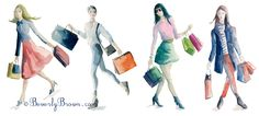 People shopping (Spring/Summer) - watercolor on a white background.