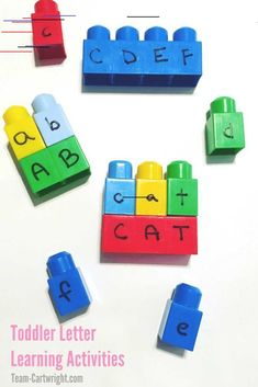 6 Learning Activities Using Mega Bloks Teach letters using mega blocks! Easy fun and your toddler will love it. Learn how and get more games for learning fun! The post 6 Learning Activities Using Mega Bloks appeared first on Toddlers Diy. Preschool Learning Activities, Infant Activities, Fun Learning, Learning Activities For Toddlers, Letter Learning Games, Educational Crafts For Toddlers, Educational Activities For Preschoolers, Educational Toys, Legos
