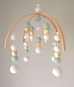 Baby Mobile by SproutlingCo // felt ball mobile