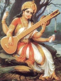 """Sarasvati - Hindu goddess of the arts, white swan, vina (musical instrument), book of knowledge. Mantra - Om Ah-eem Sar-as-vuh-tee Na-ma-ha Om! Salutations to the Goddess Sarasvati. """"The word that flows forth from your mouth is Mother. Saraswati Goddess, Saraswati Photo, Ocean Wallpaper, Goddess Of Love, Goddess Art, Indian Art Paintings, God Pictures, Beautiful Pictures, Indian Gods"""