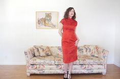 Jahrgang 1950 Mandarin Cheongsam Kleid Burnt von OzmaAutonomy