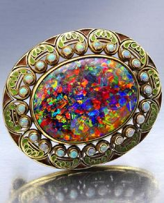 An Arts & Crafts opal and enamel brooch, Louis Comfort Tiffany, Tiffany…