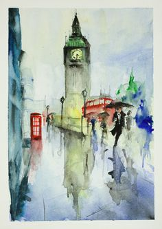 Summer rain in London – Watercolours Directly from the artist