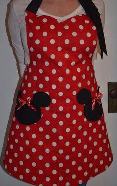 Items similar to Minnie Mouse Apron, Party Apron, Womens Apron that is Reversible on Etsy Sewing To Sell, Cute Aprons, Baby Couture, Sewing Aprons, Mickey Minnie Mouse, Etsy, Trending Outfits, My Style, How To Wear