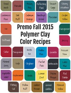 Polymer Clay Color Recipes for Premo Fall 2015 - Whether you aren't comfortable mixing colors or just want to save yourself some time, these recipes are for you. * 39 polymer clay color recipes for the season's hottest colors. Polymer Clay Recipe, Polymer Clay Crafts, Polymer Clay Jewelry, Clay Earrings, Baking Polymer Clay, Sculpey Clay, Printable Recipe Cards, Clay Food, Clay Tutorials