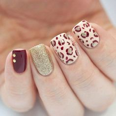 Red, Beige and Gold Glitter Leopard Nail with Golden Beads